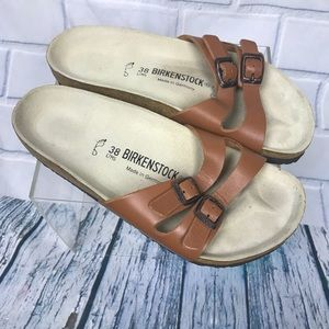 Birkenstock Leather Buckle Slide On Sandals 38